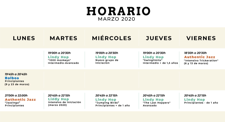 Horario The Nest Swing Dance Studio Alicante